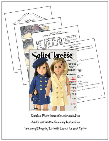 18 inch pdf doll clothes sewing pattern coat dress for American Girl