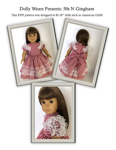 PDF doll clothes sewing pattern Dolly Wears 50 N Gingham 1950s dress designed to fit 18 inch American Girl dolls