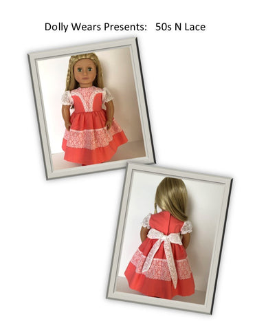 pdf doll clothes sewing pattern Dolly Wears  50s n lace dress designed to fit 18 inch American Girl dolls