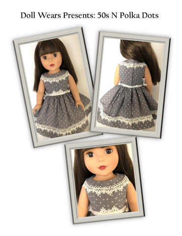 "50s N Polka Dots 18"" Doll Clothes Pattern"