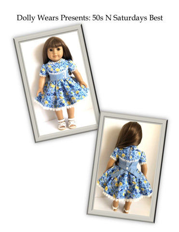 "50s N Saturdays Best 18"" Doll Clothes Pattern"
