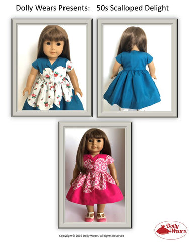 "50s Scalloped Delight Dress 18"" Doll Clothes Pattern"