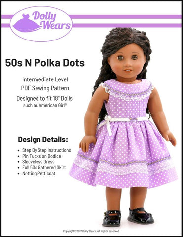 "Dolly Wears 18 Inch Historical 50s N Polka Dots 18"" Doll Clothes Pattern Pixie Faire"