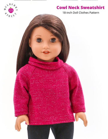 "Cowl Neck Sweatshirt 18"" Doll Clothes Pattern"