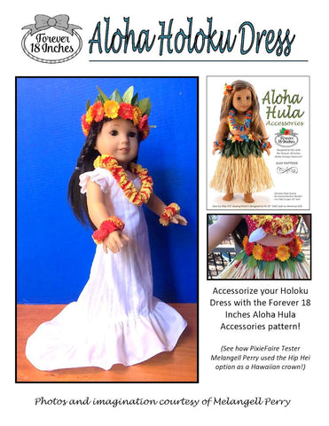 "Aloha Holoku Dress 18"" Doll Clothes Pattern"