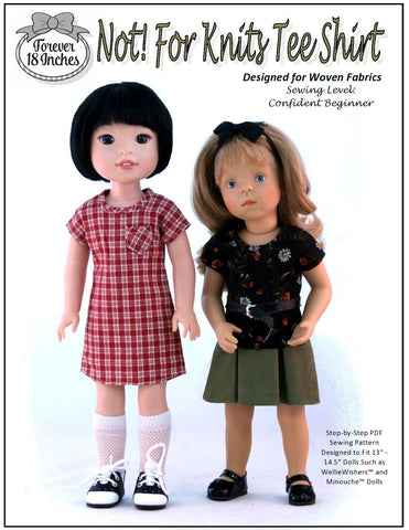 PDF doll clothes sewing pattern forever 18 inches not for knits tee designed to fit 13 to 14.5 inch minouche and welliewishers dolls