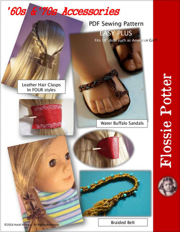 "Flossie Potter 18 Inch Historical '60s & '70s Accessories 18"" Doll Accessory Pattern Pixie Faire"