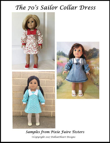"70s Sailor Collar Dress 18"" Doll Clothes Pattern"
