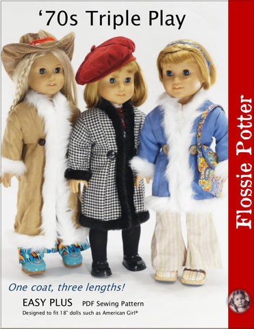 "Flossie Potter 18 Inch Historical '70s Triple Play Coats 18"" Doll Clothes Pattern Pixie Faire"
