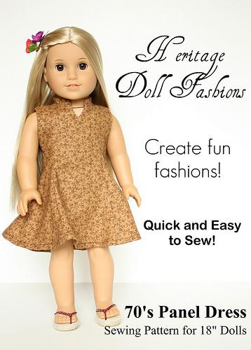 1970's Panel Dress 18 inch Doll Clothes Pattern PDF ...