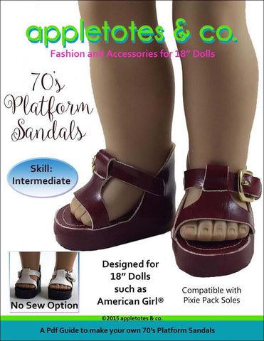 "70's Platform Sandals 18"" Doll Shoe Pattern"