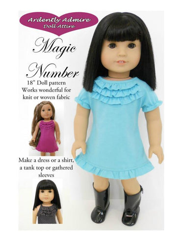"Magic Number Dress 18"" Doll Clothes Pattern"