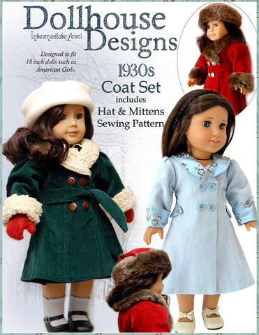 "Dollhouse Designs 18 Inch Historical 1930s Coat Set 18"" Doll Clothes Pattern Pixie Faire"