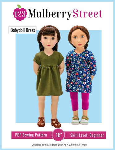 "Babydoll Dress Pattern For 16"" A Girl For All Time Dolls"