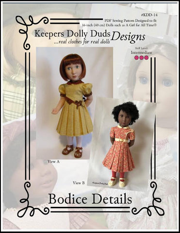 Keepers Dolly Duds PDF doll clothes sewing pattern Bodice Details designed to fit 16 inch A Girl For All Time Dolls 1930s dress