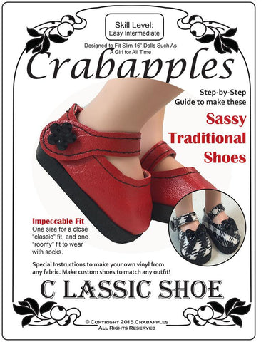 Crabapples A Girl For All Time Classic Shoe Pattern for AGAT Dolls Pixie Faire