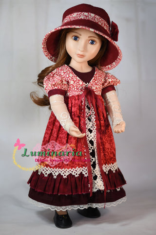 PDF sewing pattern 16 inch doll clothes pattern dress, pinafore, hat, arm warmers, stocking designed to fit A Girl For All Time dolls