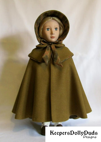 Keepers Dolly Duds Double Cape and Bonnet PDF doll clothes sewing pattern designed to fit 16 inch A Girl For All Time Dolls