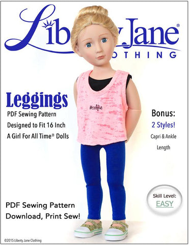Liberty Jane A Girl For All Time Leggings Pattern for AGAT Dolls Pixie Faire