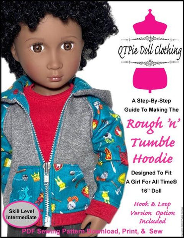 QTπ Doll Clothing A Girl For All Time Rough N Tumble Hoodie Pattern For A Girl For All Time Dolls Pixie Faire