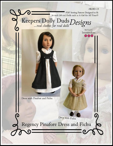 Keepers Dolly Duds Regency Dress and Fichu PDF doll clothes sewing pattern designed to fit 18 inch American Girl dolls