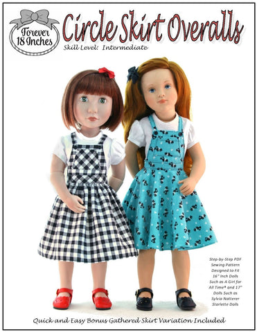 forever 18 inches PDF doll clothes sewing pattern circle skirt overalls designed to fit 16 inch a girl for all time dolls and 17 inch sylvia natterer stalette dolls