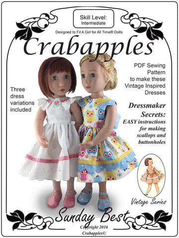Crabapples A Girl For All Time Sunday Best Pattern for AGAT Dolls Pixie Faire