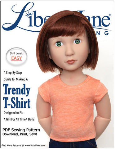 Liberty Jane A Girl For All Time FREE T-Shirt Pattern for AGAT Dolls Pixie Faire