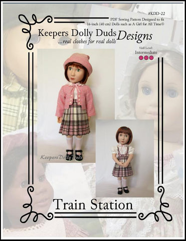 Keepers Dolly Duds Train Station PDF doll clothes sewing pattern designed to fit 16 inch A Girl For All Time Dolls