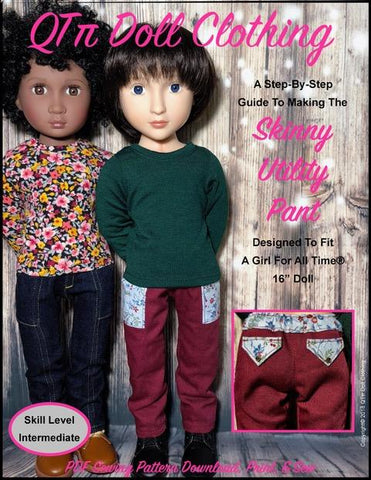 pdf doll clothes sewing pattern QTPie Skinny Utility Pants designed to fit 16 inch A Girl For All time dolls