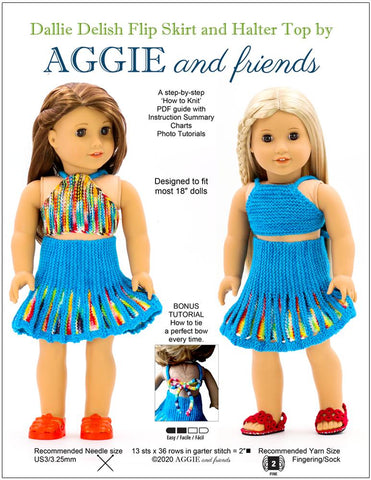 "Aggie and friends Knitting Dallie Delish Flip Skirt and Halter Top Knitting Pattern For 18"" Dolls Pixie Faire"