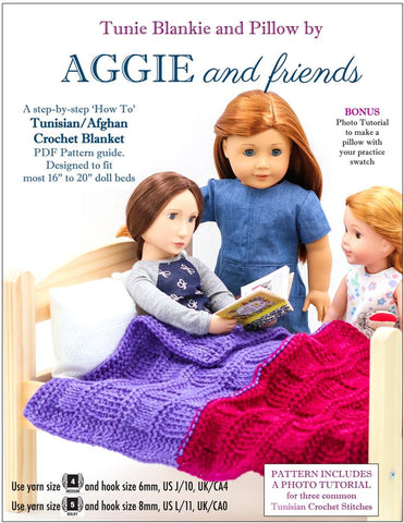 "Aggie and friends Quilt Tunie Blankie and Pillow Crochet Pattern For 16-20"" Dolls Pixie Faire"