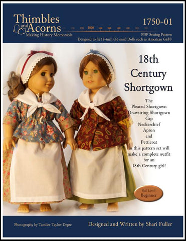 pdf doll clothes sewing pattern 18th century shortgown designed to fit American Girl