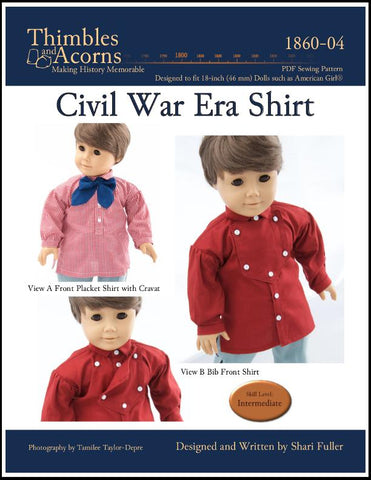 "Thimbles and Acorns 18 Inch Historical Civil War Shirt 18"" Doll Clothes Pattern Pixie Faire"