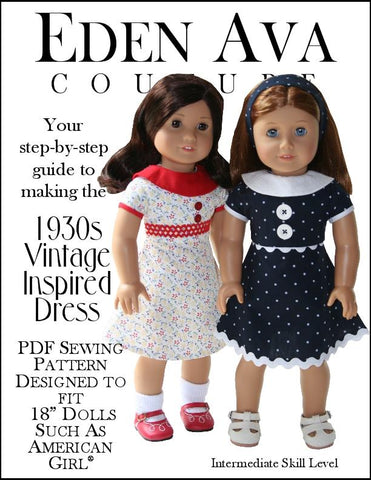 "1930's Vintage Dress 18"" Doll Clothes Pattern"