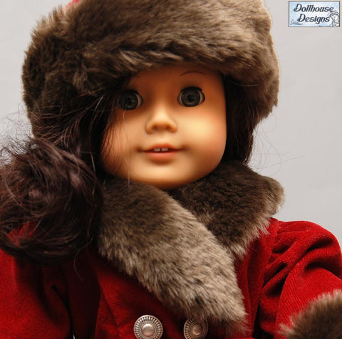 18 inch PDF doll clothes sewing pattern 1930s fur trimmed coat, hat, mittens designed to fit American Girl dolls