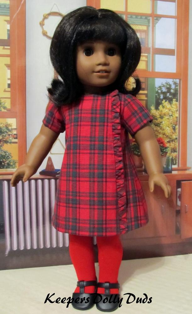 Red Black Plaid Country Style Doll Dress Clothes Fits American Girl Dolls