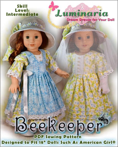Luminaria Beekeeper PDF doll clothes pattern designed to fit 18 inch American Girl dolls