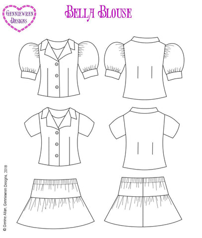 pdf doll clothes sewing pattern Genniewren Designs Bella Blouse and skirt designed to fit 18 inch American Girl dolls