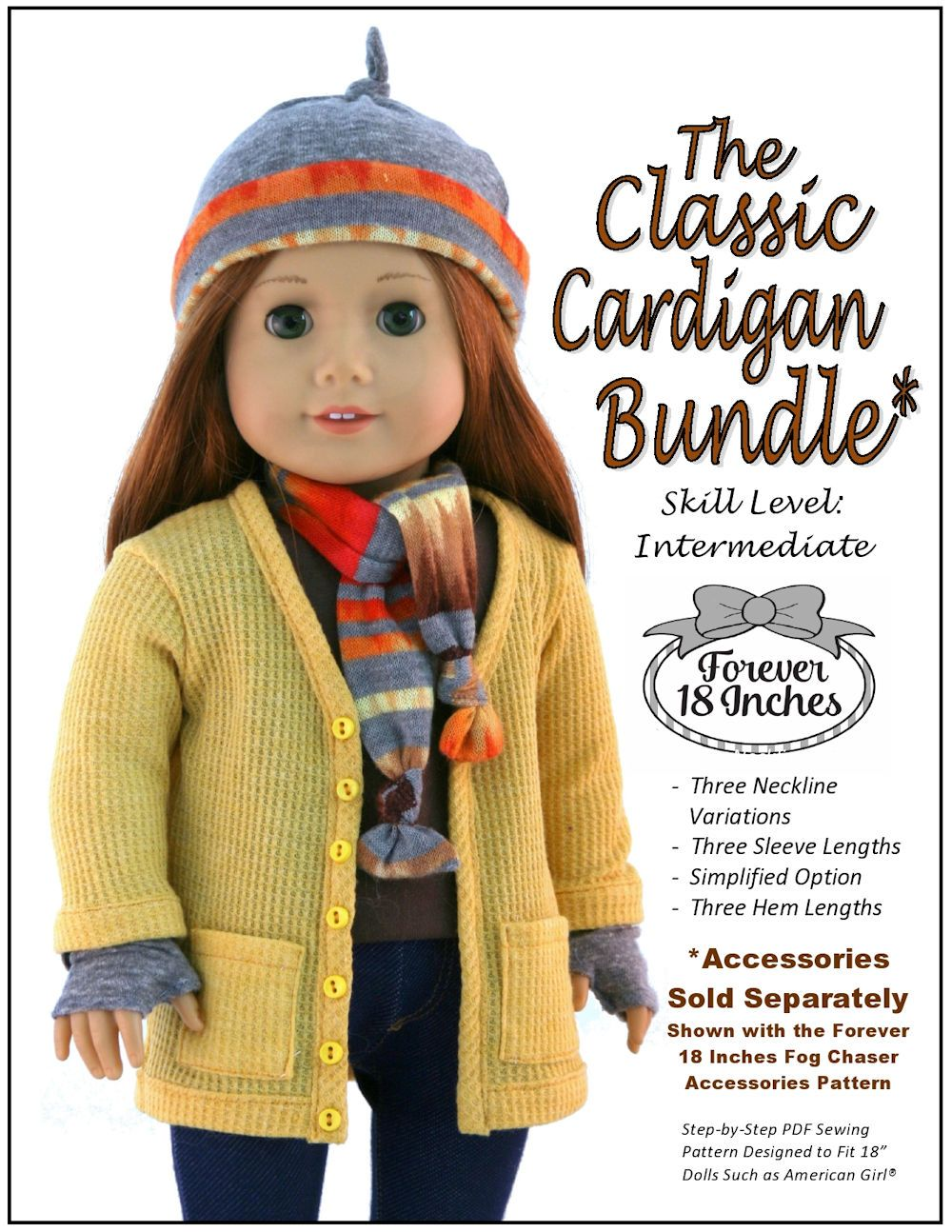 dc672c630 Forever 18 Inches Classic Cardigan Bundle Doll Clothes Pattern 18 ...