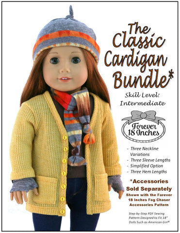 "Classic Cardigan Bundle 18"" Doll Clothes Pattern"