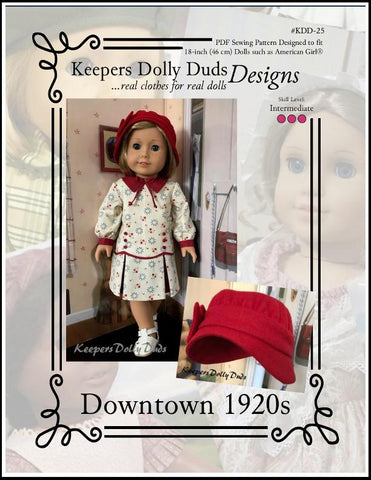 Keepers Dolly Duds Downtown 1920s PDF doll clothes sewing pattern designed to fit 18 inch American Girl dolls