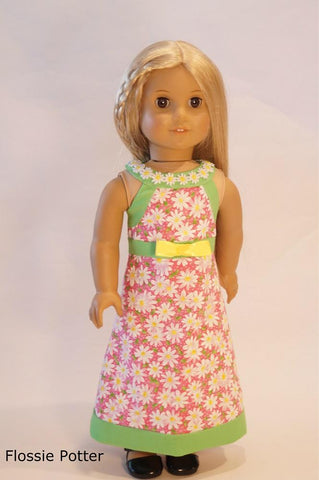 PDF doll clothes sewing pattern Flossie Potter Garden Gala A-Line Dress designed to fit 18 inch American Girl dolls