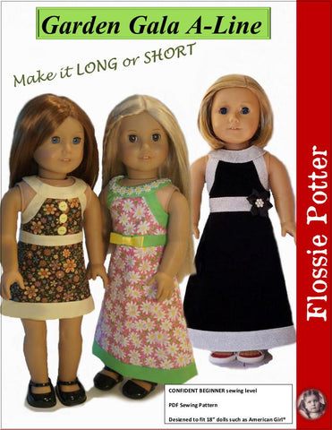 "Flossie Potter 18 Inch Historical Garden Gala A-Line Dress 18"" Doll Clothes Pattern Pixie Faire"