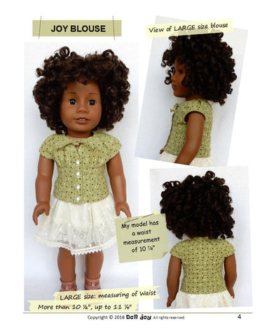 PDF doll clothes sewing pattern blouse designed to fit American Girl