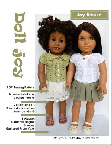 "Doll Joy 18 Inch Modern Joy Blouse 18"" Doll Clothes Pattern Pixie Faire"