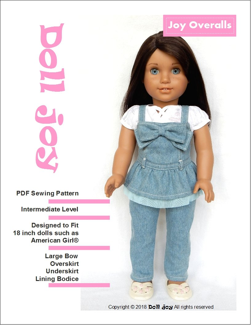 0f080e134 Doll Joy overalls pdf doll clothes sewing pattern designed to fit 18 inch  American Girl dolls ...