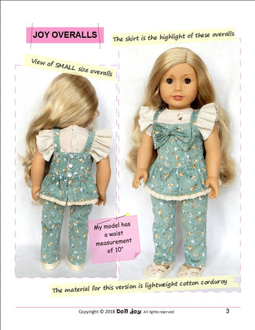 Doll Joy overalls pdf doll clothes sewing pattern designed to fit 18 inch American Girl dolls