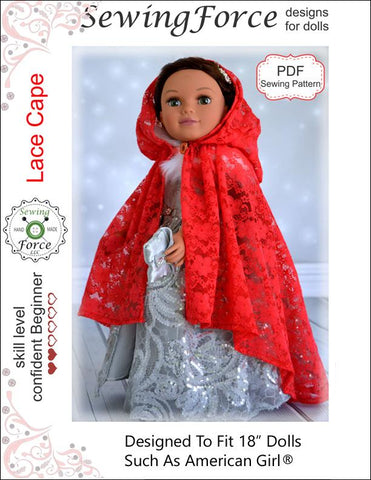 "Sewing Force 18 Inch Modern Lace Cape 18"" Doll Clothes Pattern Pixie Faire"
