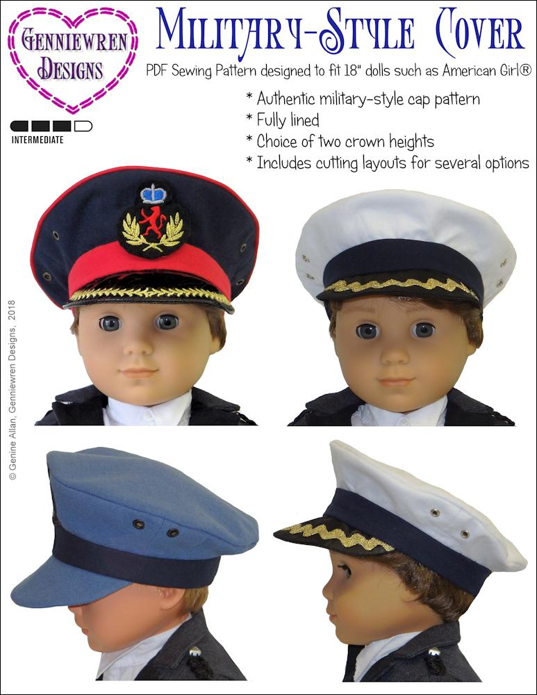 2a0efad3735 Genniewren Designs Military style cap pdf doll clothes sewing pattern  designed to fit 18 inch American ...